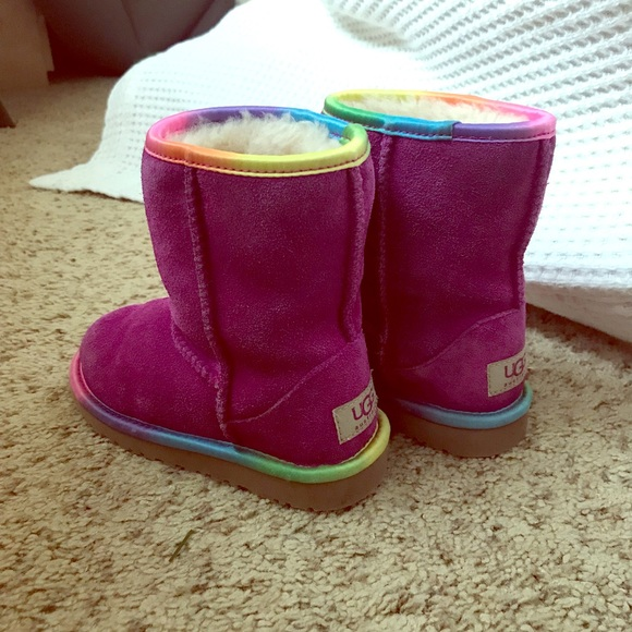 5cec720268b Girls UGG boots. Colorful rainbow trim.